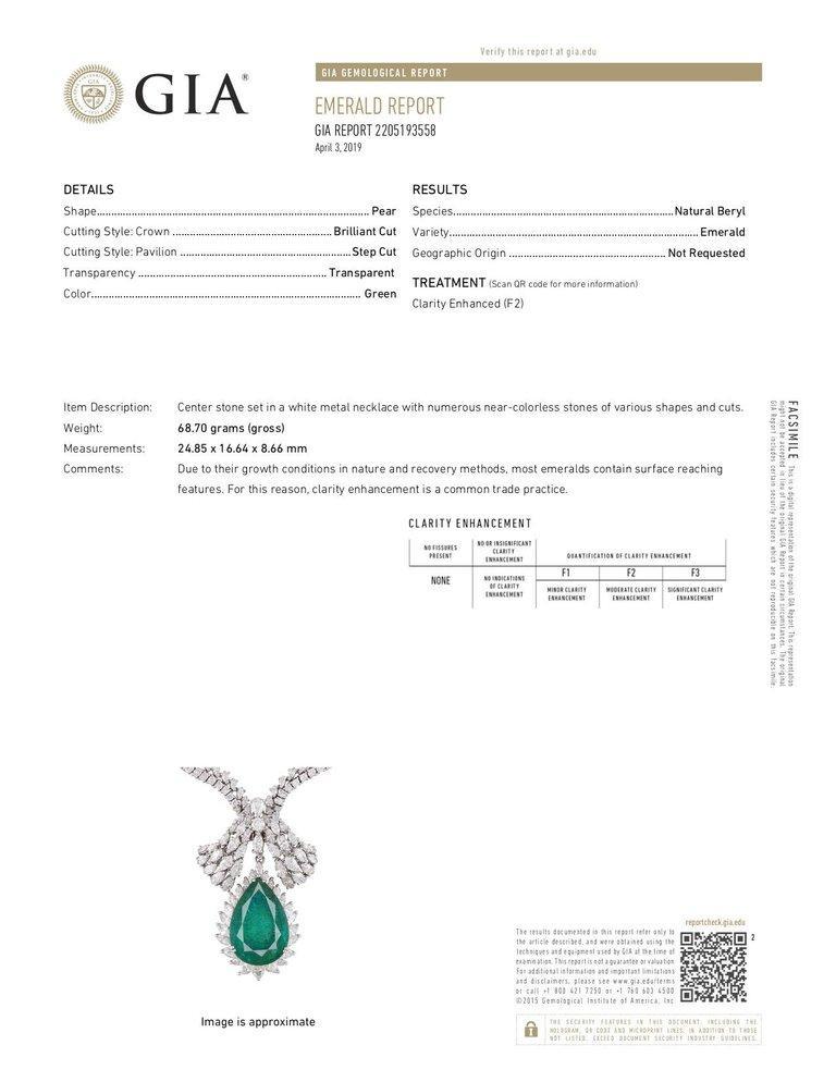 Art Deco 1960s GIA Emerald Diamond Choker Pendant Necklace For Sale