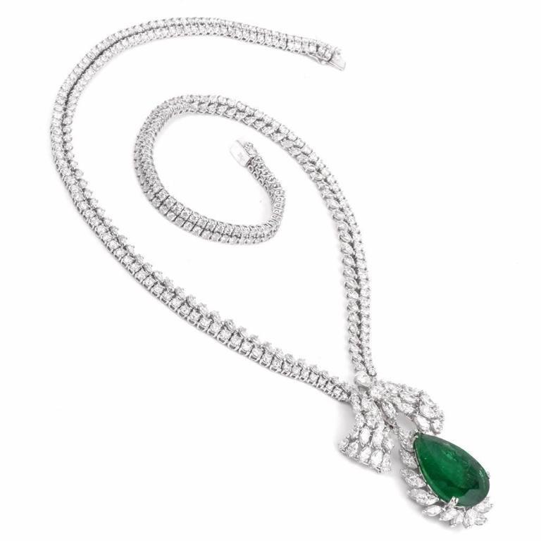 Women's 1960s GIA Emerald Diamond Choker Pendant Necklace For Sale