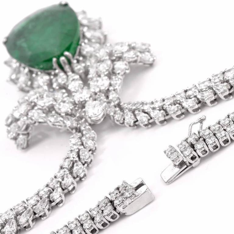 1960s GIA Emerald Diamond Choker Pendant Necklace For Sale 2