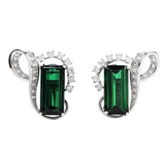 1960's GIA Green Tourmaline Diamond Platinum Ribbon Clip On Earrings
