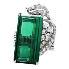 1960's GIA Green Tourmaline Diamond Platinum Ribbon Cocktail Ring