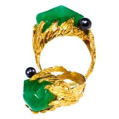 1960s Gilbert Albert Signed 18 Karat Gold 10 Carat Chrysoprase Berry Motif Ring