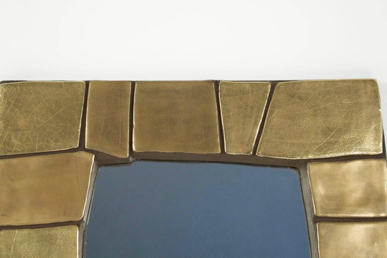 French 1960s Gilded and Enameled Ceramic Mirror, by Mithé Espelt For Sale
