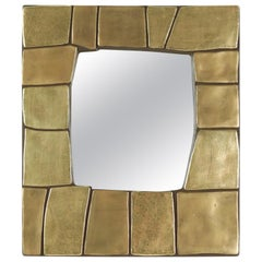 1960s Gilded and Enameled Ceramic Mirror, by Mithé Espelt