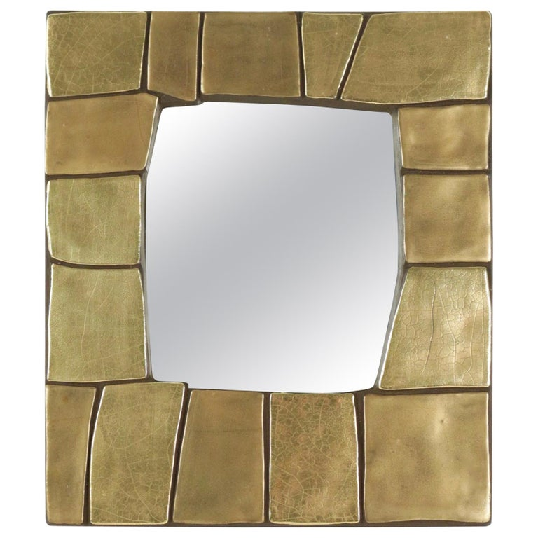1960s Gilded and Enameled Ceramic Mirror, by Mithé Espelt For Sale