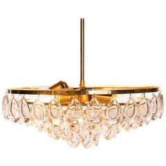 1960s Gilded Brass and Faceted Crystal Palwa Chandelier