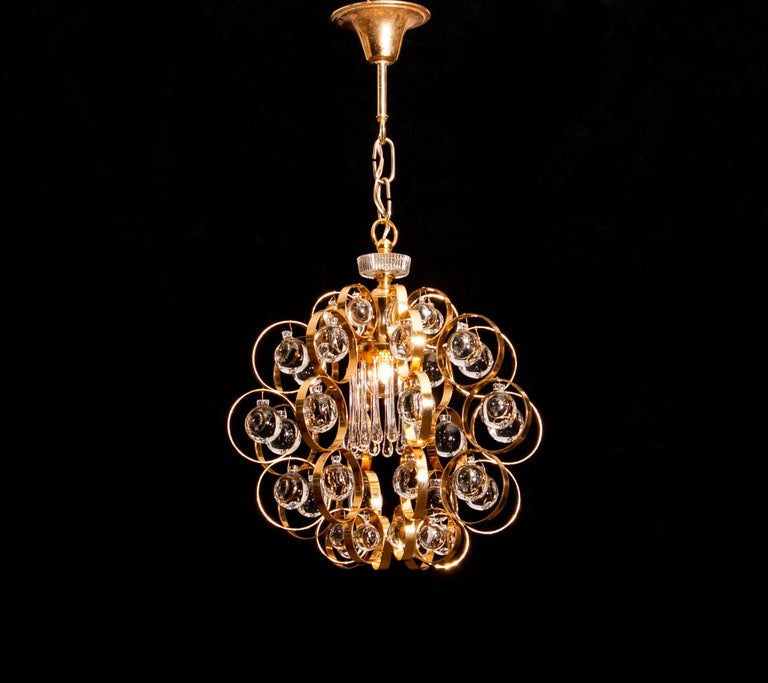 German 1960s, Gilded Brass Murano Glass Chandelier by Palwa For Sale