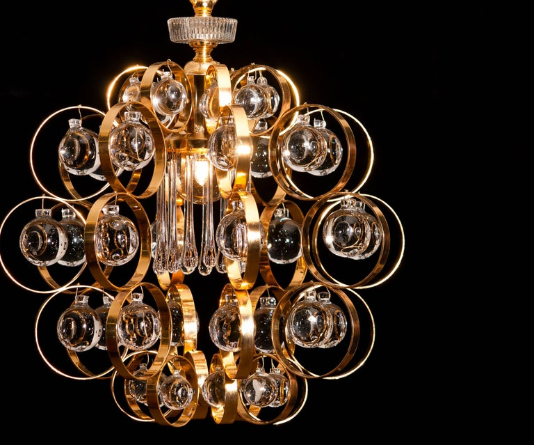 1960s, Gilded Brass Murano Glass Chandelier by Palwa In Good Condition For Sale In Silvolde, Gelderland