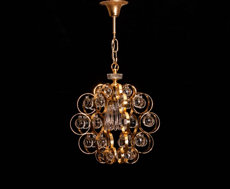 1960s, Gilded Brass Murano Glass Chandelier by Palwa For Sale 2