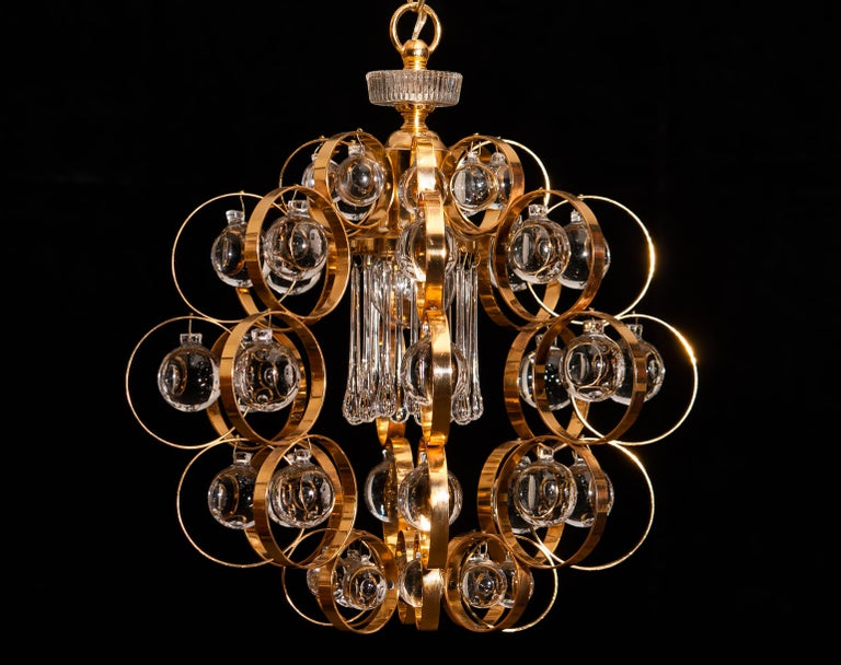 1960s, Gilded Brass Murano Glass Chandelier by Palwa For Sale 3