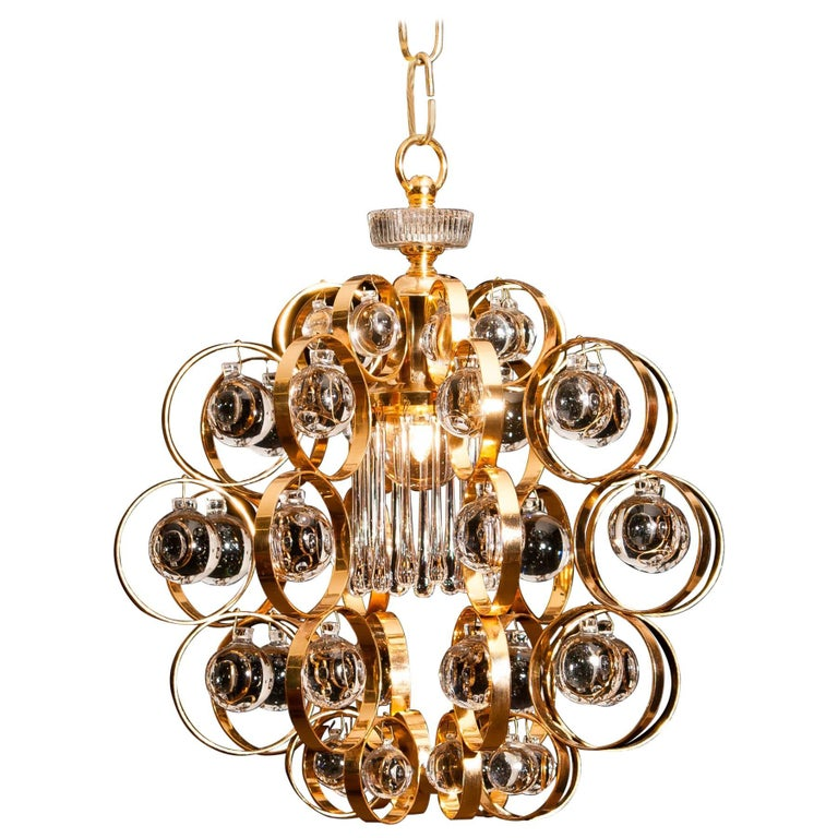 1960s, Gilded Brass Murano Glass Chandelier by Palwa For Sale