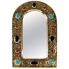 "1960s Gilded Enameled Ceramic ""Jewel mirror"" by François Lembo"