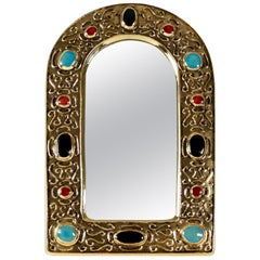 "1960s Gilded Enameled Ceramic ""Jewel mirror"" by François Lembo"