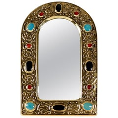 "1960s Gilded Enameled Ceramic ""Jewel Mirror"" Signed by François Lembo"