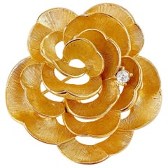 1960s Gilded Rose Flower Figural Brooch w Crystal Accent By Marcel Boucher