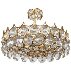 1960's Gilt-Brass and Crystal Pendant Chandelier by Sciolari for Palwa