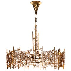 1960s Gilt Brass and Crystal Glass Chandelier by Palwa
