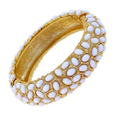 1960s Gilt & Milk Glass Cabochon Hinged Bangle Bracelet By Kenneth Jay Lane
