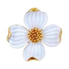 1960s Gilt & White Enamel Dogwood Flower Figural Brooch By Crown Trifari