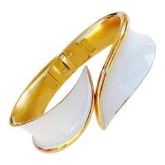1960s Gilt & White Enamel Hinged Clamper Bangle Bracelet By Crown Trifari