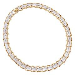1960s Gilt & White Enamel Linked Leaves Choker Necklace By Crown Trifari