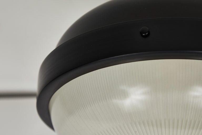 Italian 1960s Gino Sarfatti Model 3027/p/g Metal and Glass Ceiling Lamp Arteluce For Sale