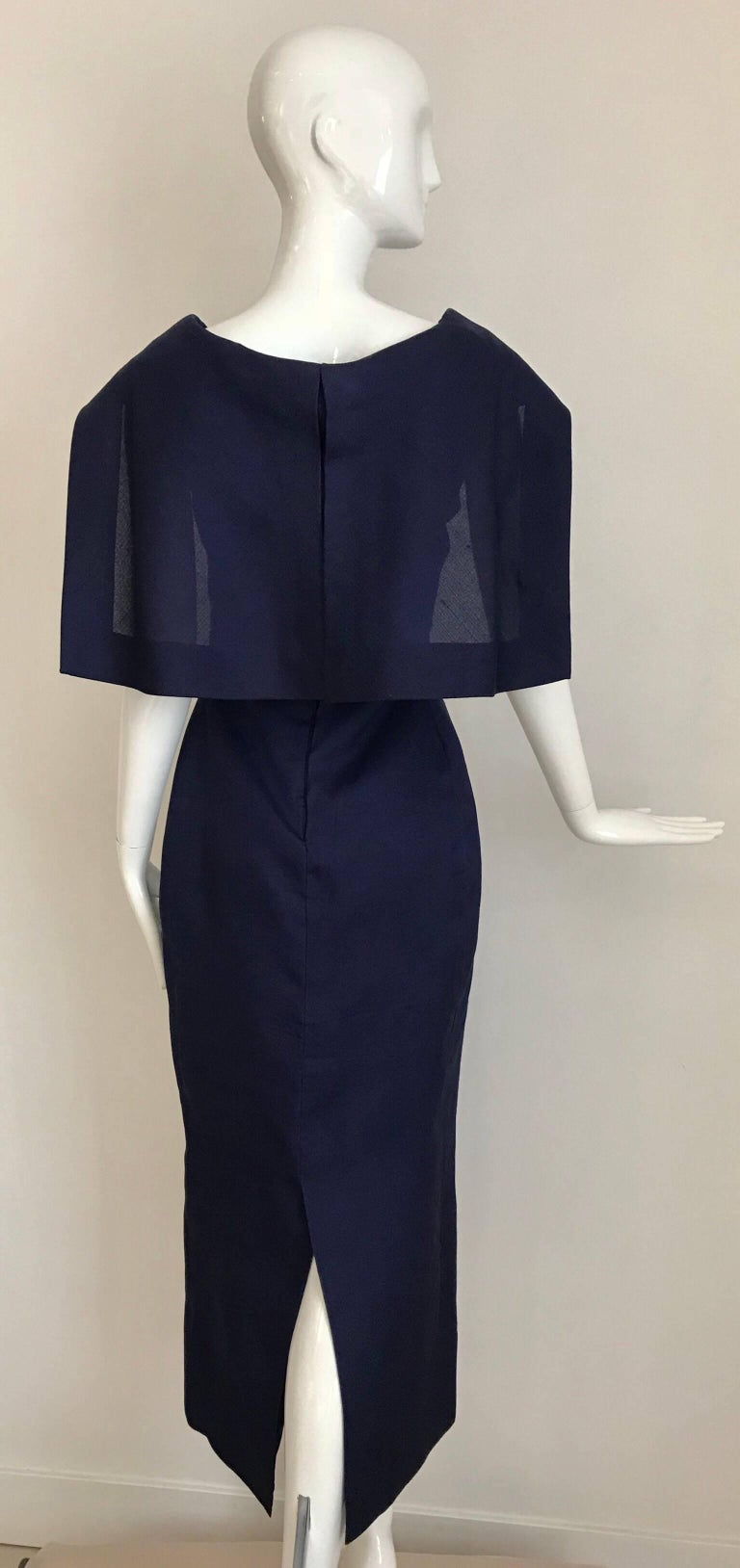 Givenchy Couture Silk Organza Blue Sheath Cocktail Dress, 1960s  In Excellent Condition In Beverly Hills, CA