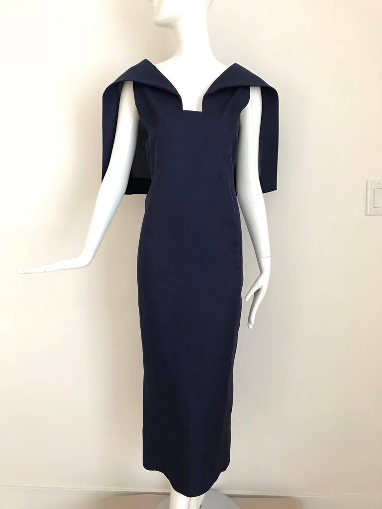 Givenchy Couture Silk Organza Blue Sheath Cocktail Dress, 1960s  2