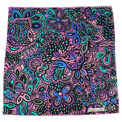 1960s Givenchy Purple Printed Silk Scarf