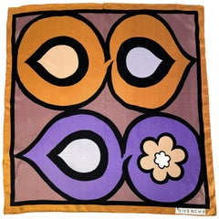 1960s Givenchy Silk Printed Scarf