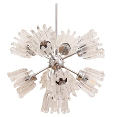 1960s Glass and Chrome Tulip Doria Leuchten Sputnik Chandelier Hanging Light