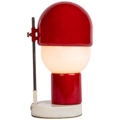 1960s Glass and Red Metal Table Lamp Attributed to Angelo Lelli for Arredoluce