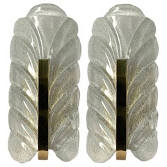 1960s Carl Fagerlund for Orrefors Glass Leaf Pair of Wall Sconces