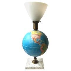 1960s Globe Lamp on Marble Base