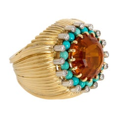 1960s Gold and Citrine Cocktail Ring with Turquoise and Diamond Embellishment
