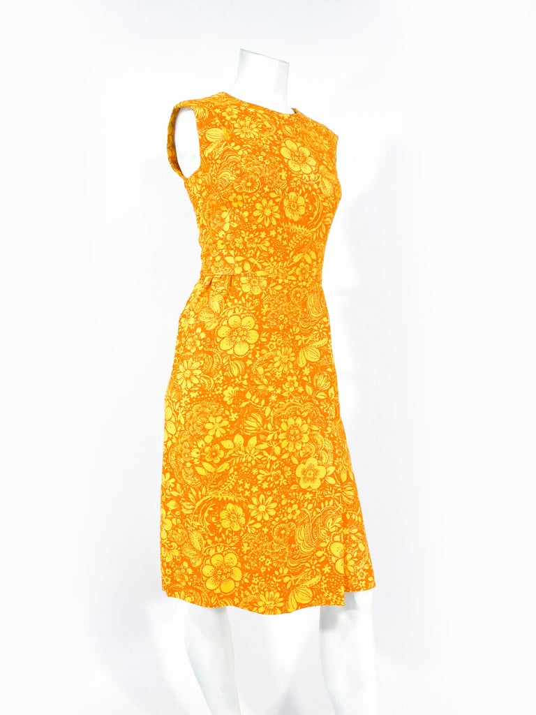 Women's 1960s Gold and Orange Floral Printed Cotton Dress For Sale