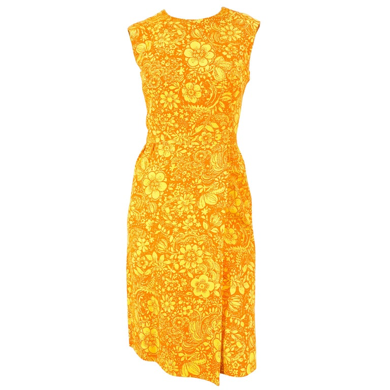 1960s Gold and Orange Floral Printed Cotton Dress For Sale