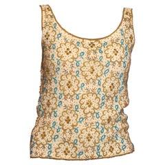 1960S Gold & Aqua Blue Beaded Wool Knit Shell Top