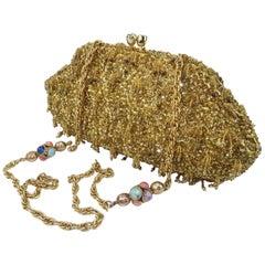 1960's Gold Beaded Sequin Evening Handbag
