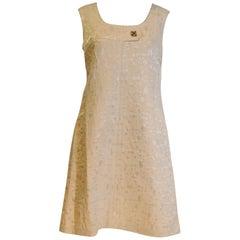 1960s Gold Brocade Shift Dress.