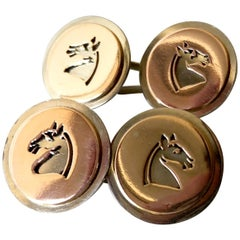 1960s Gold Chessman Knight Equine Silhouette Cufflinks