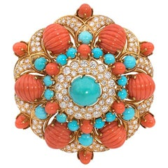1960s Gold, Coral, Turquoise, and Diamond Brooch of Bombé Florette Design