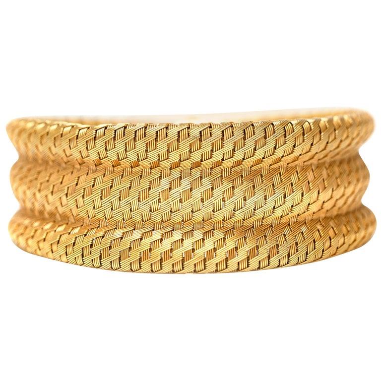 1960s Gold Cuff Bracelet For Sale