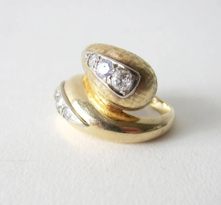 Modernist 1960s Gold Diamond Bypass Cocktail Ring For Sale