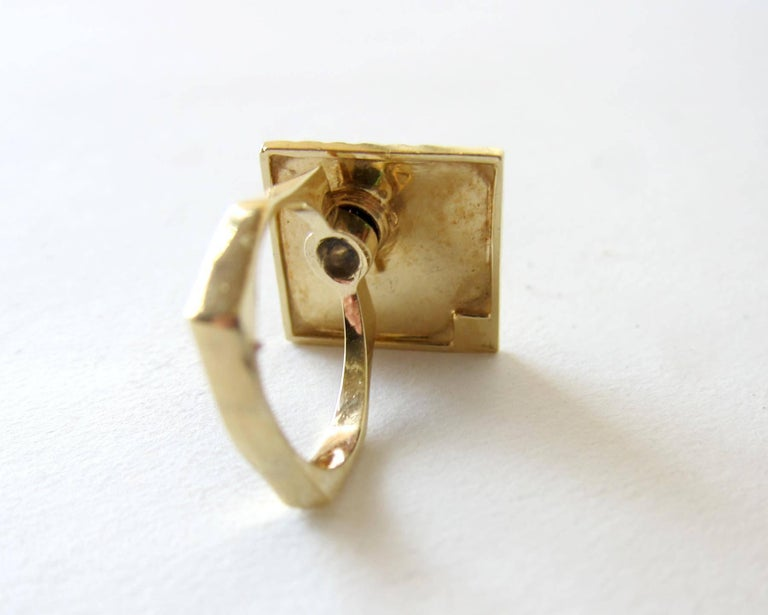 1960s Gold Diamond Double Spinner Kinetic Disco Ring In Good Condition For Sale In Los Angeles, CA