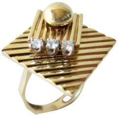 1960s Gold Diamond Double Spinner Kinetic Disco Ring