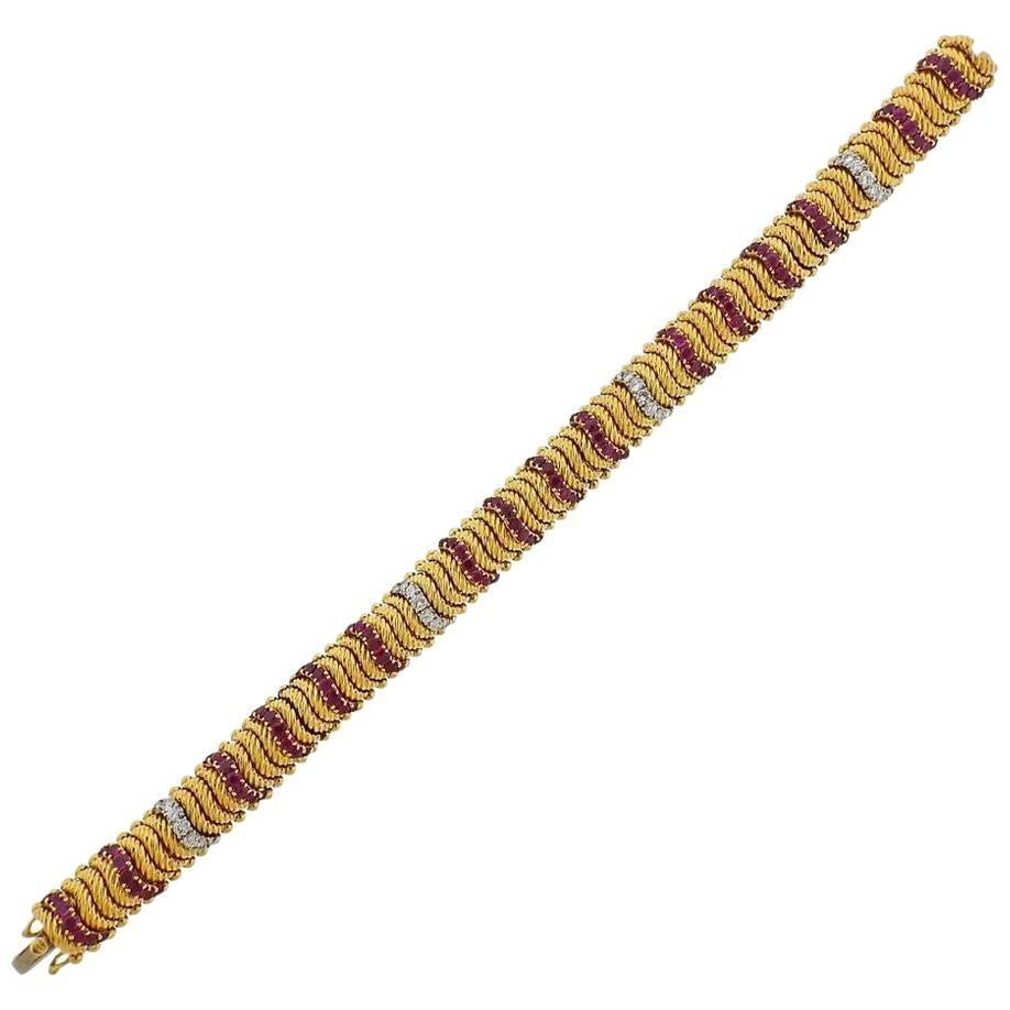 1960s Gold Diamond Ruby Bracelet