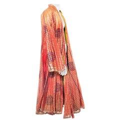 1960S Gold Hand Printed Cotton Blend Full Length Metallic Robe KimonoCapeDuster
