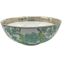 1960s Gold-Imari Green and White Peacock Punch Bowl