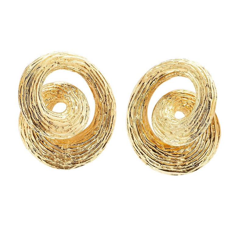 Modern 1960s Gold Knot Ear Clips For Sale
